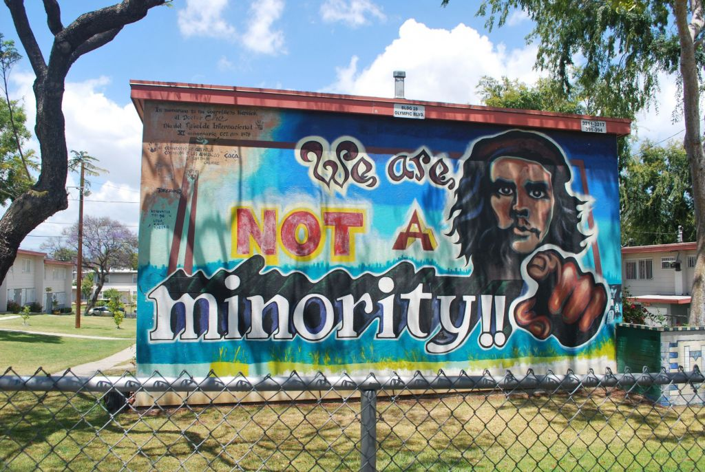 militant mural in east Los Angeles: Strident voices from some quarters have grown louder.